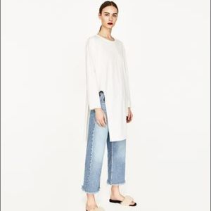 Zara Woman asymmetric long sleeve tee